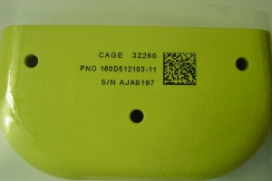 Aerospace Part Marking – IUID Part Marking – Inkjet on Green Tank Coat #1